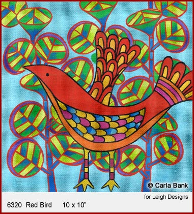 click here to view larger image of Red Bird (hand painted canvases)