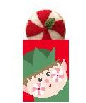click here to view larger image of Elf Treat Bag with Peppermint (hand painted canvases)
