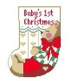 click here to view larger image of Babys First Christmas Mini Sock (hand painted canvases)