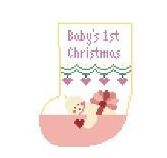 click here to view larger image of Baby's First Christmas - Pink Mini Sock (hand painted canvases)