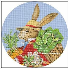 click here to view larger image of Garden Bunny Ornament (hand painted canvases)