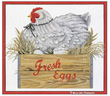 click here to view larger image of Fresh Eggs Hen (hand painted canvases)
