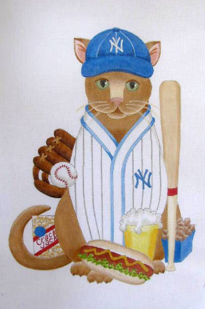 click here to view larger image of Baseball Cat - Yankees (Custom) (hand painted canvases)
