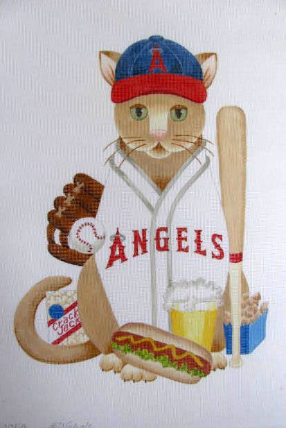 click here to view larger image of Baseball Cat - Angels (Custom) (hand painted canvases)