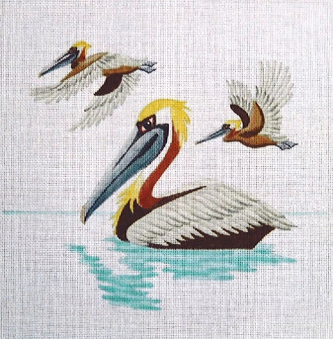 click here to view larger image of Three Pelicans (hand painted canvases)