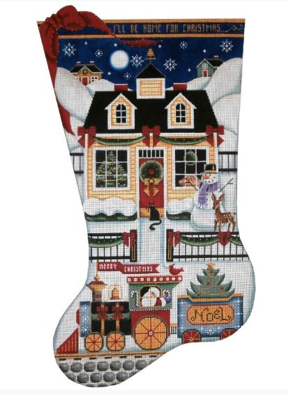 click here to view larger image of Choo Choo Cottage Stocking - 13ct (hand painted canvases)