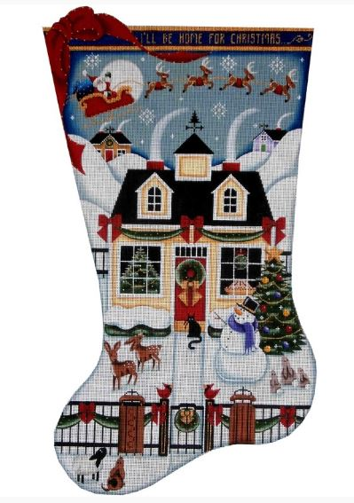 click here to view larger image of Christmas Cottage Stocking - 13ct (hand painted canvases)