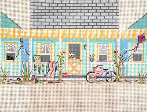 click here to view larger image of Beach House Brick Cover (hand painted canvases)