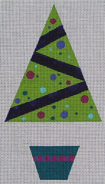click here to view larger image of Green Tree w/ Purple Dots Ornament (hand painted canvases)