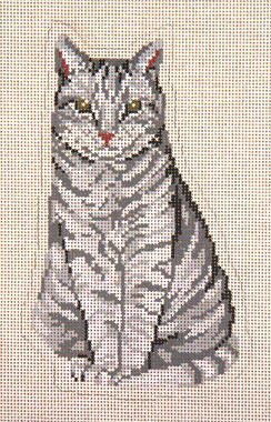 click here to view larger image of Sitting Pretty Gray Stand-Up Cat (hand painted canvases)