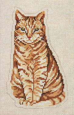 click here to view larger image of Sitting Pretty Orange Stand-Up Cat (hand painted canvases)