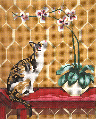 click here to view larger image of Calico Cat With Orchid (hand painted canvases)