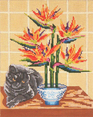 click here to view larger image of Dodie Cat With Bird Of Paradise (hand painted canvases)