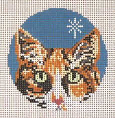 click here to view larger image of Calico Cat - Glimpse Ornament - 18ct (hand painted canvases)
