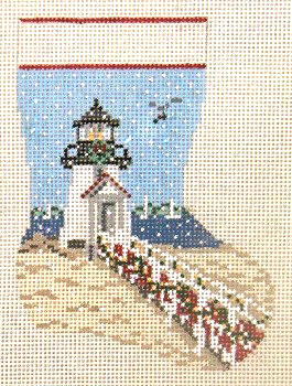 click here to view larger image of Brant Point Lighthouse Mini Stocking - 13ct (hand painted canvases)