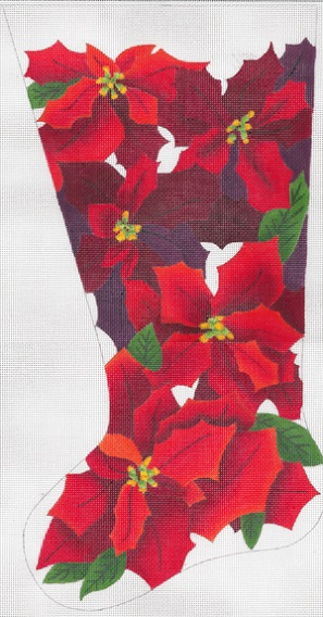 click here to view larger image of Noel Poinsettias Stocking (hand painted canvases)
