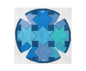 click here to view larger image of Interlock Star Blue Yarmulke (hand painted canvases)