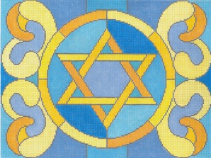 click here to view larger image of Stained Glass Circle Star Blue Tallis (hand painted canvases)