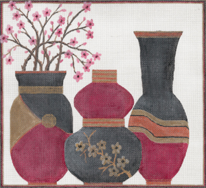 click here to view larger image of Cherry Blossoms Vases (hand painted canvases)