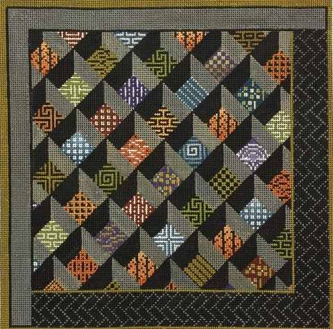 click here to view larger image of Asian Squares  (hand painted canvases)