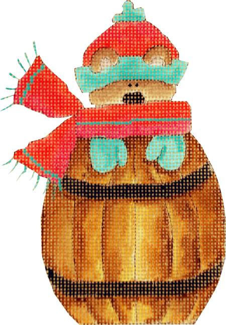 click here to view larger image of Bear In A Barrel (hand painted canvases)