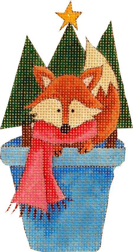 click here to view larger image of Fox In a Flower Pot (hand painted canvases)