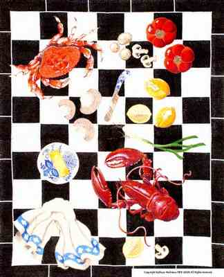 click here to view larger image of Lobster Rug (hand painted canvases)