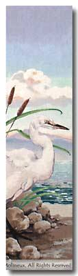 click here to view larger image of Egret Bell Pull (hand painted canvases)