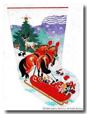 click here to view larger image of Horse Drawn Delivery Stocking (hand painted canvases)