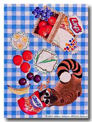 click here to view larger image of Raccoon Picnic Rug (hand painted canvases)