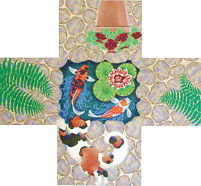 click here to view larger image of Cat / Koi Ottoman Cover (hand painted canvases)