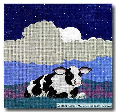 click here to view larger image of Night (Black and White Cow) (hand painted canvases)