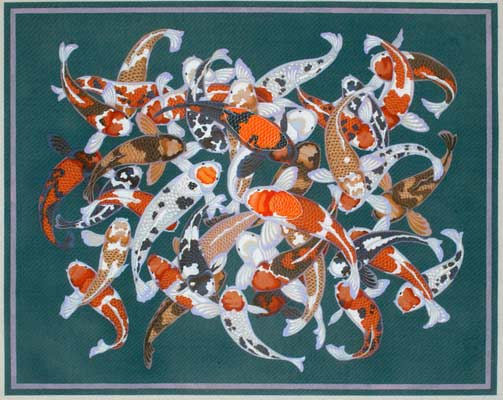 click here to view larger image of Carp Rug (hand painted canvases)