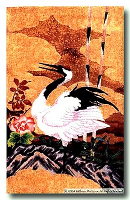 click here to view larger image of Japanese Crane and Peonies Tapestry (hand painted canvases)