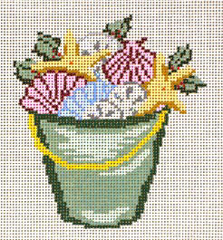 click here to view larger image of Bucket of Shells and Holly - 18ct (hand painted canvases)