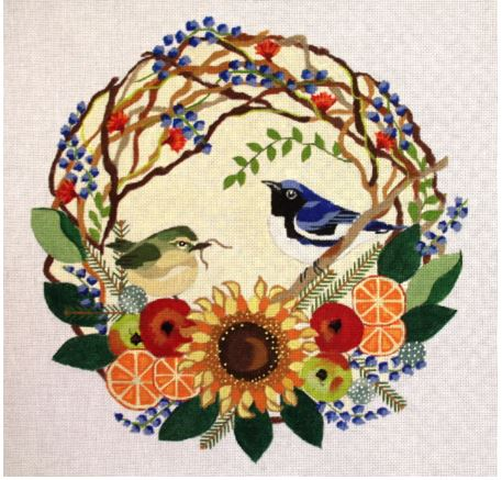 click here to view larger image of Blue Thrushes In Wreath (hand painted canvases)