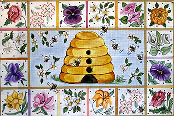 click here to view larger image of Flowers and Beehive (hand painted canvases)