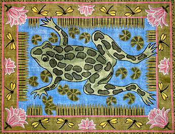 click here to view larger image of Frog and Waterlilies With Dragonfly Border (hand painted canvases)