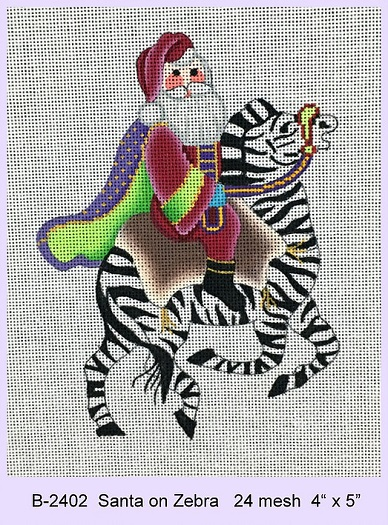 click here to view larger image of Santa On Zebra (hand painted canvases)