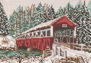 click here to view larger image of Barronvale Covered Bridge - 18ct (hand painted canvases)