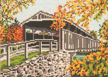 click here to view larger image of Perrine Covered Bridge - 18ct (hand painted canvases)