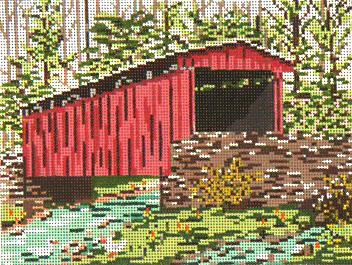 click here to view larger image of Thomas Mill Covered Bridge - 18ct (hand painted canvases)