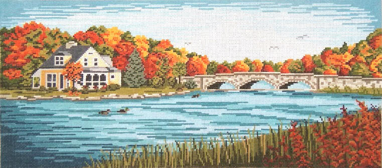 click here to view larger image of Autumn Bridge and River Scene (hand painted canvases)