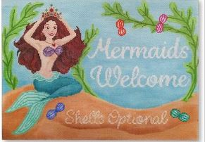 click here to view larger image of Mermaids Welcome (hand painted canvases)