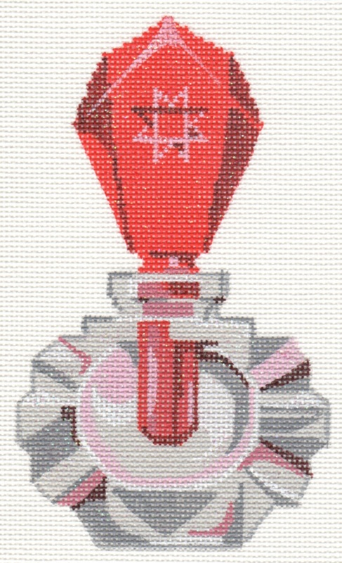click here to view larger image of Ruby Dauber Perfume Bottle (hand painted canvases)