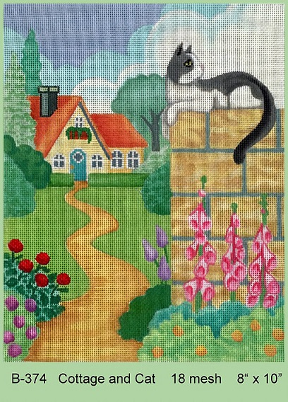 click here to view larger image of Cottage And Cat (hand painted canvases)
