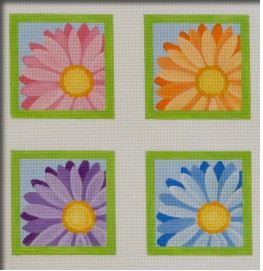 click here to view larger image of Crazy Daisy Square Coasters - Set of 4 (hand painted canvases)
