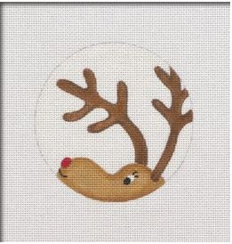 Reindeer Peeking Ornament hand painted canvases