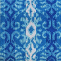 click here to view larger image of IKAT VI - Damask In Bright Blues (hand painted canvases)