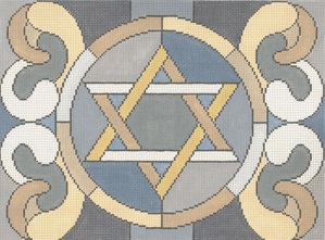 click here to view larger image of Stained Glass Circle Star Grey Tallis (hand painted canvases)